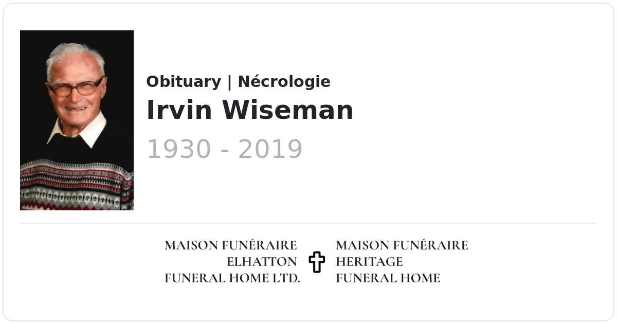 Irvin Wiseman | Obituaries | Elhatton's Funeral Home Ltd